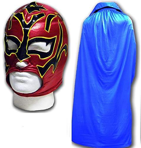 Estrella Fugaz Fancy Kleid Mexikanischen Wrestlers Erwachsene Mexican Wrestling Maske W/Blau Cape - Wrestling-cape Mexikanische