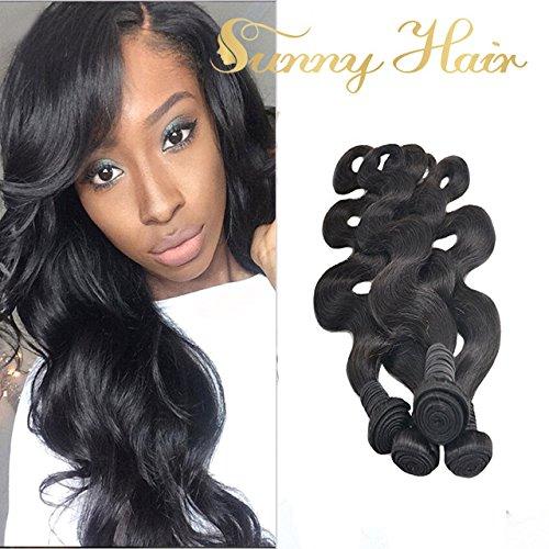 Sunny Vrai Cheveux Humain Naturel Tissage Bresilien Noir Ondule en 4 Longeur 14,16,18,20 Pouces Total 200g Pas Cher Haute Qualite