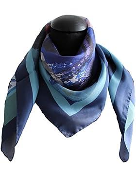 foulard seta 100% twill 12mm disegno 62871blu mis cm 90 x 90