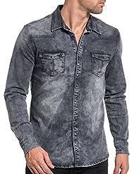 BLZ jeans - Chemise homme grise délavé en jogg jean