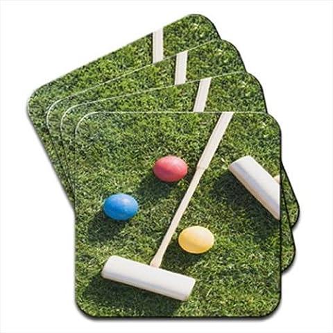 Croquet Maillets et balles sur village vert Set de 4dessous de verre