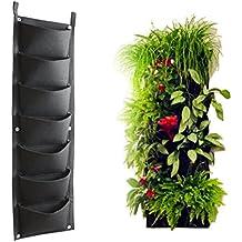 AmgateEu plantador Vertical de pared para 7 plantas, tamaño 30 x 100 cm, para interior/exterior, materiales reciclados, fuerte y Durable, fácil de colgar y llenar