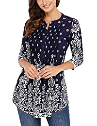 DOKOTOO Women's Casual Floral Notch Neck Pin-Tuck Tunic Blouse Top