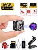 Mini kamera, WEIO Spionage-Kamera 1080P/720P Tragbare Spionage Kamera mit Nachtsicht und Sound Modi 12 Megapixel Surveillance Kamera Gratis 16G MicroSD HC,Lesegerät und Reset Nadel Minikamera HD