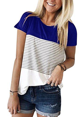 Ehpow Damen Sommer T-Shirt Casual Streifen Patchwork Kurzarm Oberteil Tops Bluse Shirt (Medium, D-Blau)