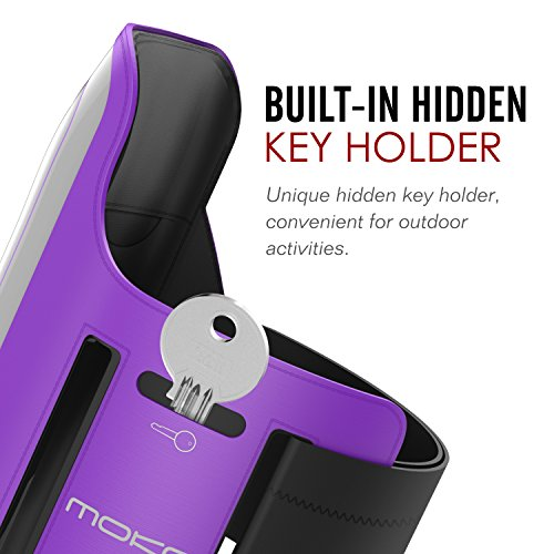 "MoKo iPhone 6S Plus Armband - Sweatproof Joggen Laufen Sport Armband Handy Hülle Schutzhülle Case + Schlüsselhalter Kopfhörer Anschluss für Apple iPhone 6 Plus / 6S Plus 5.5"", Smartphone, Schwarz Violett"