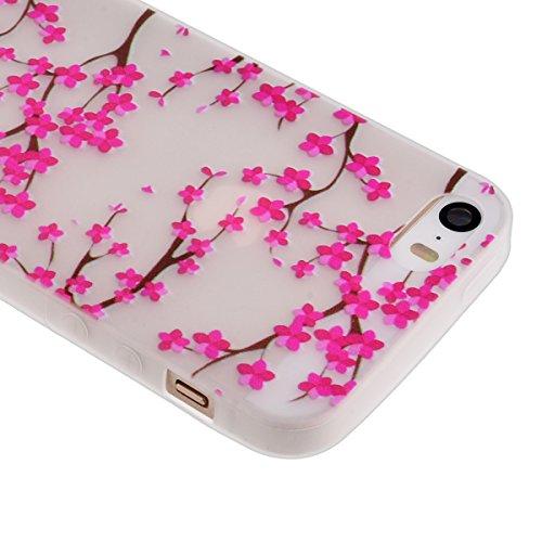 GrandEver Coque TPU pour iPhone 5 iPhone 5S Silicone Housse Gel Back Cover Etui Protecteur Fleur de Prunier Motif Doux Bumper Case Coque Transparent Souple Design de Mode Haute Qualite Anti-Rayures +  Fleurs