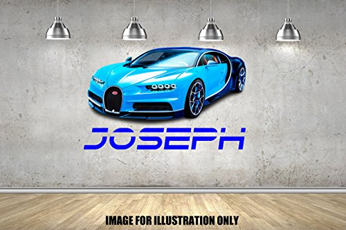 Bugatti Chiron personalisierte Namen Wandtattoo Kinder Jungen Mädchen Wand Aufkleber Wand Kunst Transfer Aufkleber
