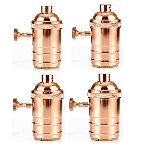 4er Edison E27 Kupfer Lampenfassung Deckenfassung Socket Lampenfuss Mit Schalter Retro Vintage Halter für Hängeleuchte Deckenleuchte...