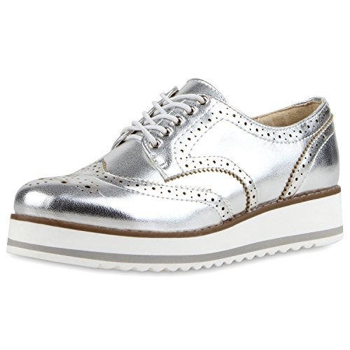 39 – Japado Toutes Brogue Argent Chaussures Les Argent Femme x66Ewp7qX