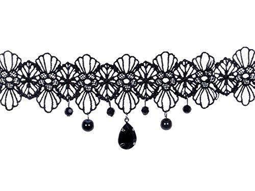 Fansi Fashion Frauen Gothic Choker Spitze Halskette Gem Kette Lolita Perlen Spitze Halsband Collier Black Jewel Lace Halskette