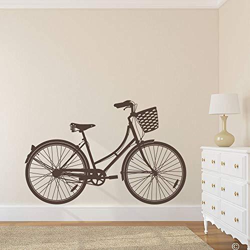 CLIFFBENNETT Cliffbennet K562 Wandaufkleber für Damen, Cruiser-Fahrrad mit Korb, Vinyl, erhältlich in 40 Farben