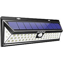 Mpow Foco Solar Exterior,Luz Solar Jardín 54 LED, Gran Ángulo 120°, Impermeable, Proporcionar hasta 12 HORAS con 3 Modos y Sensor de Movimiento Solar para Jardín, Patio, Terraza, Garaje, Camino de Entrada, Escaleras, Camino de Iluminación(1 Pieza)