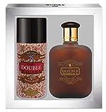 WHISKY Double • Coffret Eau de Toilette 100ML + Déodorant 15OML • Vaporisateur • Spray • Parfum Homme • Cadeau • EVAFLORPARIS