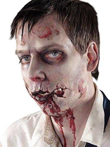 Blutige Zombiemund Wunde Halloween Latexapplikation hautfarben rot