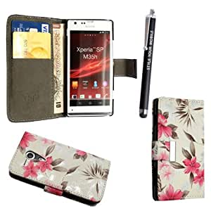 GSDSTYLEYOURMOBILE {TM} SONY XPERIA SP M35H PREMIUM QUALITY PU LEATHER MAGNETIC FLIP CASE SKIN COVER POUCH + STYLUS (Pink Flower on White Book Flip)
