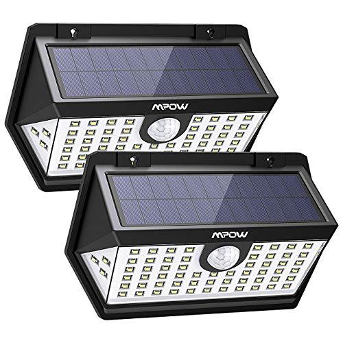 Mpow 2 Pack 63 LED Spot Solaire Extérieur, Lampe Solaire Etanche IP65 Détecteur de Mouvement 3 Modes d'éclairage 270°Grand Angle pour Maison, Jardin, Allée, Patio, Escalier etc.