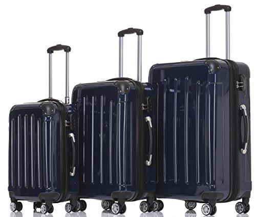 BEIBYE Hartschalen Koffer Trolley Rollkoffer Reisekoffer 4 Zwillingsrollen Polycabonat (Dunkelblau, Kofferset)