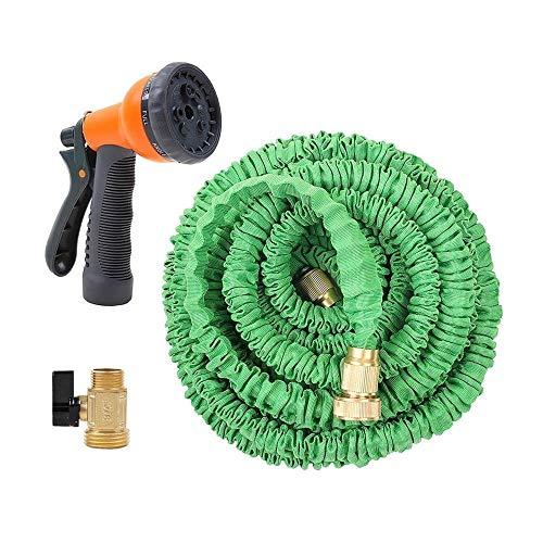 Ohuhu Dehnbarer Gartenschläuche, Flexibel Wasserschlauch ausdehnbar bis 15M mit Multifunktion Düse 8 Arten Brause für Bewässerung Gartenarbeit Autowäsche Reinigung