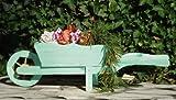 Grande brouette de Grande brouette de jardin en bois Style Greentree Pot de fleur Décoration de jardin en forme de brouette 110 CM Pot à plante décoratif en bois-Hsc - 110–Turquoise en bois vieilli Bleu gris Pflanzkübel pour Pots de fleurs