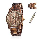 Holz Armbanduhr für Herren und Damen + 2 Uhren Links, verstellbare Armband Band Business Casual Armbanduhren, Japanisches Miyota Quarzwerk Bewegung Vintage Natürliche Holz Uhren (Zebra Holz)