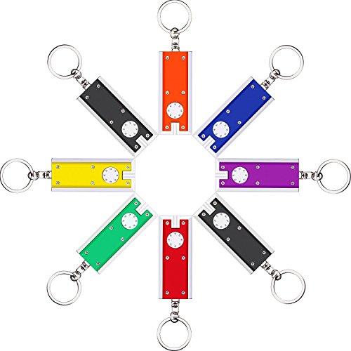 8 pezzi mini led torcia portachiavi, torcia elettrica luminosa portatile e unico pila luce chiave catene in 7 colori