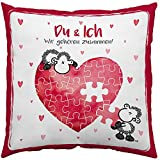 Sheepworld 45323 Baumwoll Spruch Du und Ich, Geschenk, 40 cm x 40 cm Kissen, Hülle, Füllung 100% Polyester, Rot, Weiß