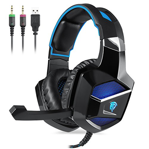 EasySMX PC&PS4 Gaming Headset, K5 Stereo Gaming Headset USB & 3,5 mm Audio Anschluss Faltbares Mikrofon on-Line Steuerung Breathing LED für PS4 / PC (Schwarz+Blau)