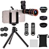 Apexel 4 In 1 Camera Lens Kit(10x HD Optical Zoom Lens, 198 Fisheye,0.63x Wide Angle,15x Macro, Mini Tripod & Phone Holder) For IPhone 7 6/6s Plus Samsung HTC Tablet Andriod Phone