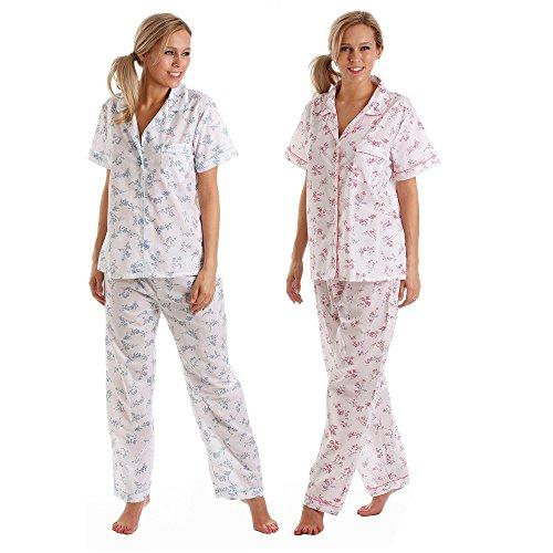 Mesdames polyester/coton manches courtes de pyjama rose ou bleu taille 10/12,14/CT/20,22/24 Rose