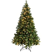 WeRChristmas Pre-Lit Spruce Multi-Function Christmas Tree with 200 LED Lights, 6 feet/1.8 m - Warm White