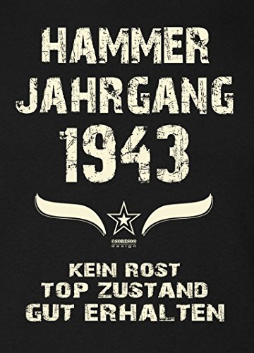 Soreso Design Geschenk 75. Geburtstag Damen Kurzarm T-Shirt Geschenkidee für Sie :-: Hammer Jahrgang 1943 :-: Schwester Mama Oma Freundin Farbe: schwarz Schwarz