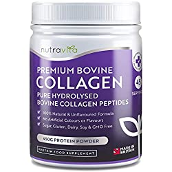 Pure Hydrolysed Bovine Collagen Powder - 450g of Premium Protein Powder (45 Servings) - 100% Natural Unflavoured Bovine Collagen Peptides - No Artificial Colours/Flavours - Made in the UK by Nutravita
