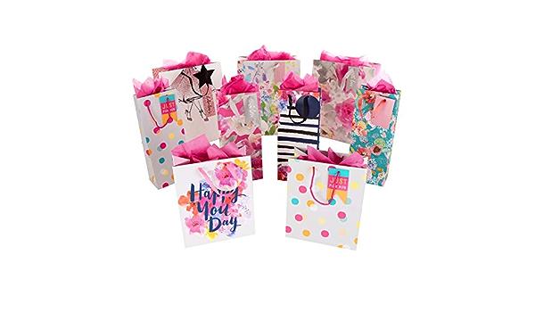 confezione regalo e fazzoletti 3 sacchetti medi Hallmark 2 piccoli sacchetti e 3 confezioni di fazzoletti 4 sacchetti per bottiglie
