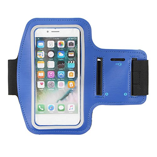 IPRee Waterproof Sports Armband Case Cover Running Gym Touch Screen Holder Pouch for iPhone 7 - Dark Blue -