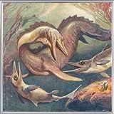 Dinosaurios Póster Impresión Artística con Marco (Plástico) - Mosasaurio Y Ictiosaurios, Heinrich Harder, 1912 (40 x 40cm)