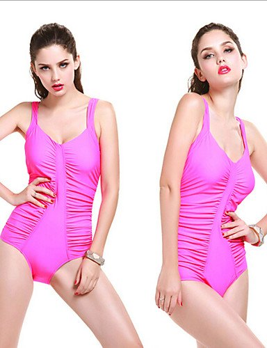 FFZH Damen Bikinis Einteiler Einfarbig Nylon Elasthan Halfter White