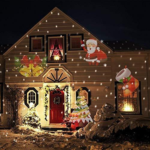 LED Projektor COOSA Weihnachten Projektor Lampe Garten Beleuchtung wasserdicht mit 12 Bunte Motiven Indoor und Outdoor Dekoration für Weihnachten Tag Neues Jahr Geburtstag Party Feiertag