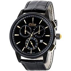 M.Conte Herren-Armbanduhr Chronograph Quarz Leder Schwarz Gold Swiss Made Conte-Viareggio-go