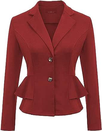 Donne Autunno Blazer - Moda Slim Fit Casual Ufficio Giacca Elegante Manica Lunga Cappotto con Volant Giacche Tuta