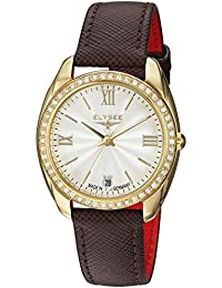 Damenuhr analog Diana von Elysee | Damen Armbanduhr mit Marken Quarzuhrwerk | Damen-Uhr mit Datumsanzeige (schwarz / gold)