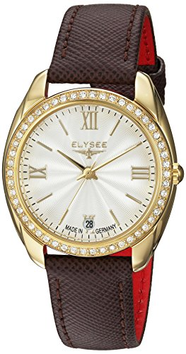 Elysee Women's Analog Quartz Watch with Leather Calfskin Strap 28601B