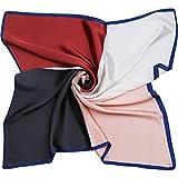 SOJOS Seidenschal Damen Halstuch Groß Quadrat Satin Nickituch Kopftuch 70 * 70cm SC303 4 Farbe Blau Seite