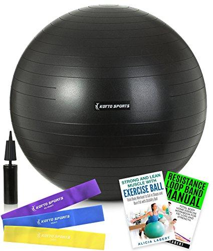 Stuhl-bein-stecker (Gymnastikball–Stabilität Ball mit Übung mit Hand Pumpe, E-Book und Bonus Widerstand Schlaufe Bands für Yoga, Pilates und Core Training, schwarz)
