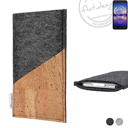 flat.design Handy Hülle Evora für Alcatel U5 HD Single SIM handgefertigte Handytasche Kork Filz Tasche Case fair dunkelgrau