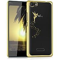 kwmobile Elegante y ligera funda Crystal Case Diseño Hada para Wiko Fever 4G en dorado transparente
