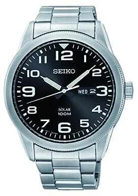 Seiko Reloj Analógico para Hombre de Energía Solar con Correa en Acero Inoxidable SNE471P1