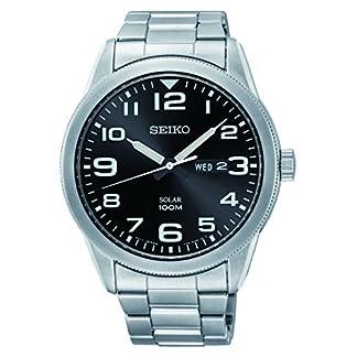 Seiko SNE471P1 – Reloj analógico de energía solar para hombre, con correa en acero inoxidable