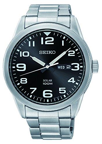 Seiko Herren Analog Solar Uhr mit Edelstahl Armband SNE471P1 (Seiko Solar Herren-uhr)