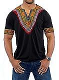 Outgobuy Männer African Print Dashiki T-Shirt Tops Unisex Casual T-Shirt (XXL, Schwarz)